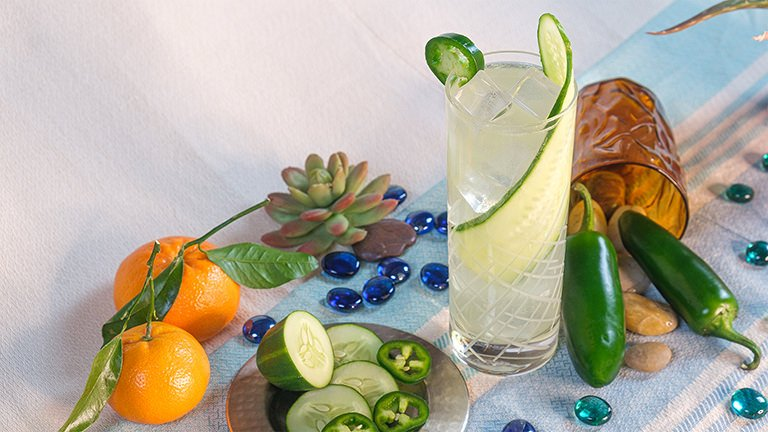 Spicy Cucumber Basil Cocktail